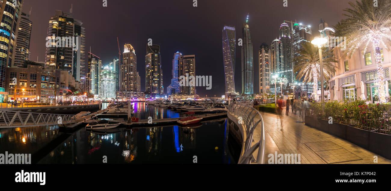 Marina in the evening, skyscrapers, Dubai Marina, Dubai, United Arab Emirates - Stock Image
