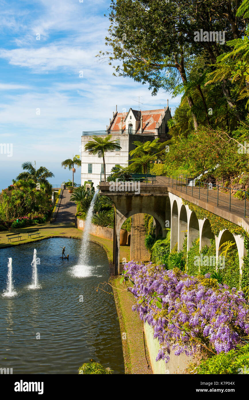 Historic Palace, Lake And Water Features In The Botanical Garden, Monte  Palace Tropical Garden