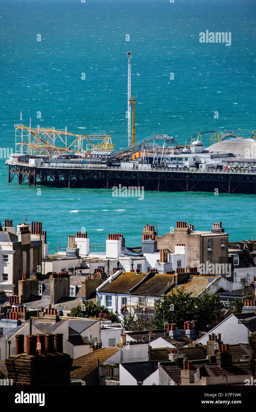 View over Brighton to the sea - Stock Image