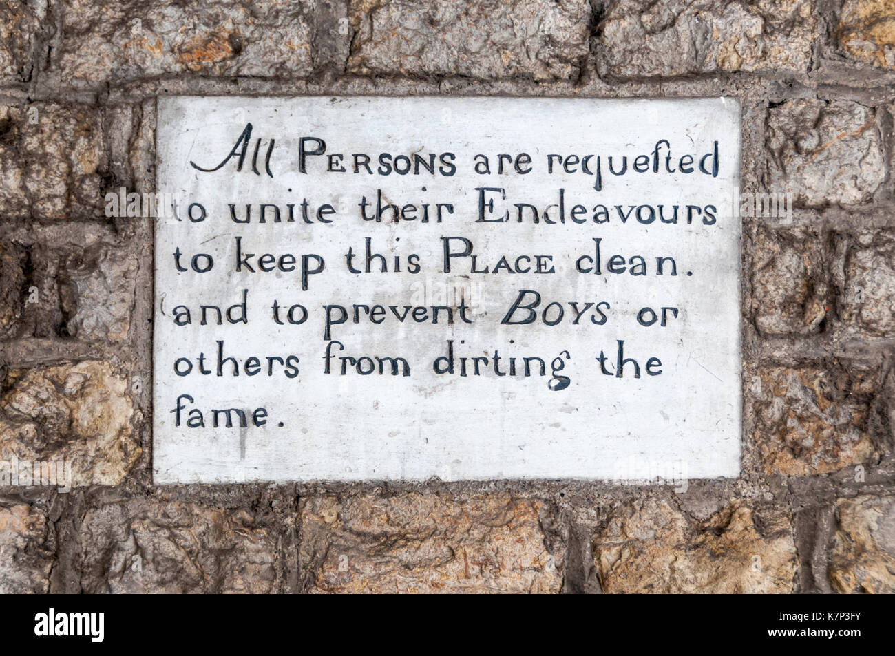 Amusing sign on old Hythe Guildhall. - Stock Image
