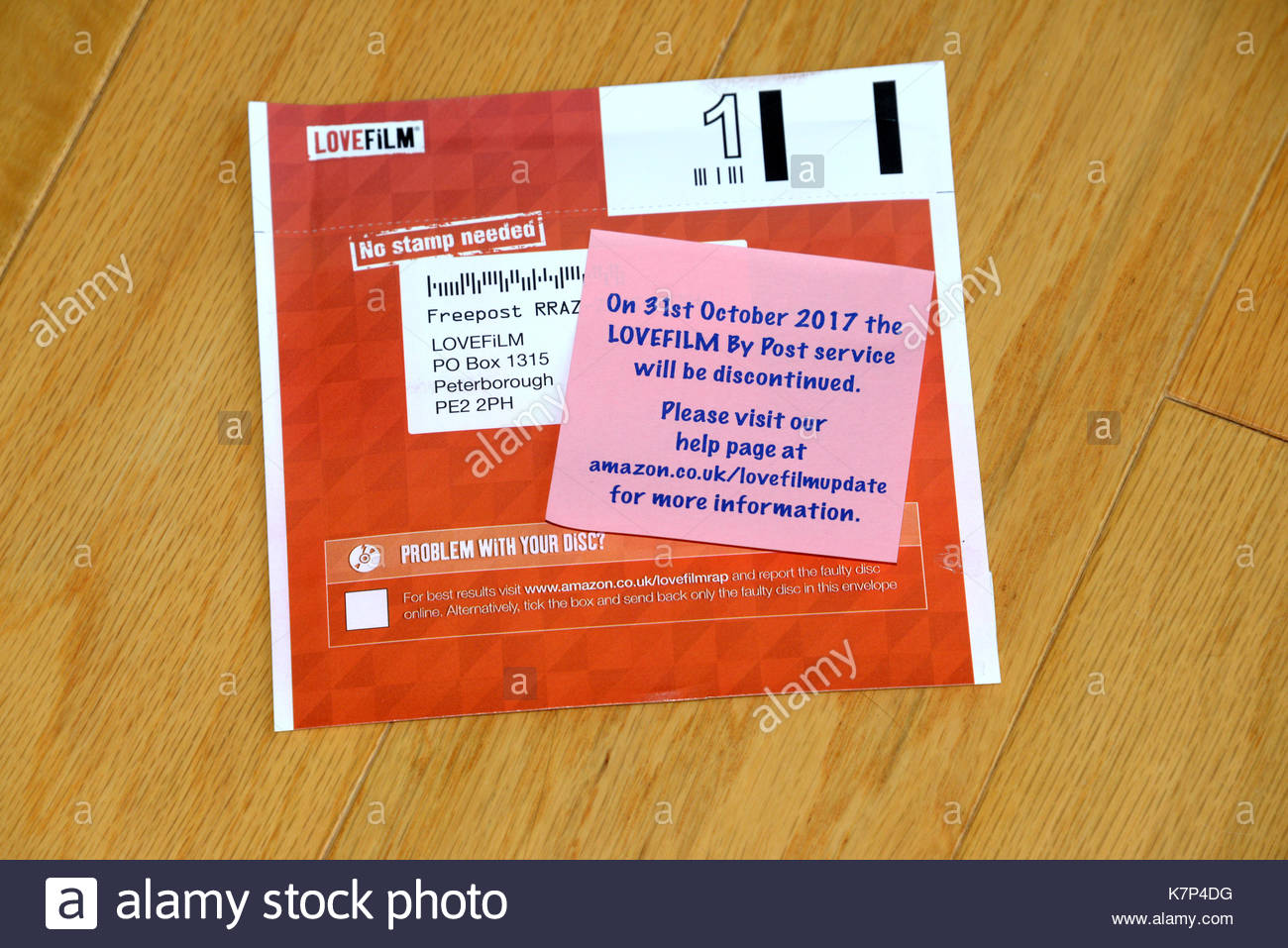Amazon Lovefilm service ends on 31st October 2017 - The DVD and Blu-ray disc rental by post was very popular with many disapointed - Stock Image