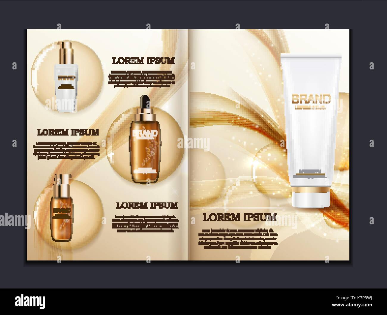 design cosmetics product brochure template for ads or magazine stock