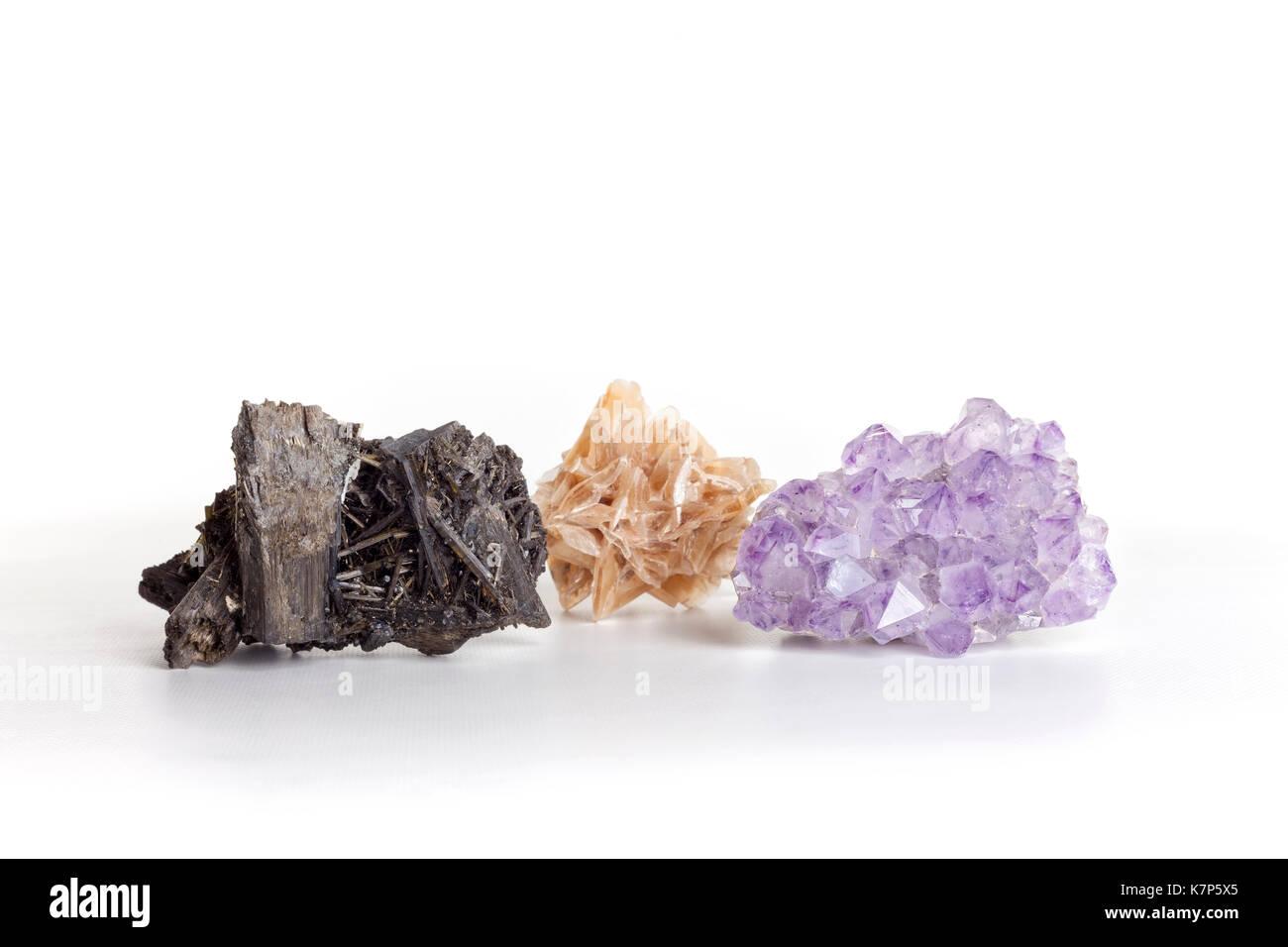 Barite, fluorite and gypsum. - Stock Image