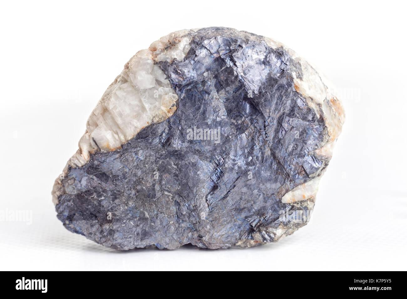 Molybdenite on white background. - Stock Image