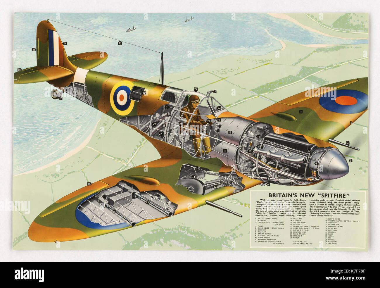 World War II-era poster touting the new Supermarine 'Spitfire I,' Britain's New Spitfire,' England, 1940. - Stock Image