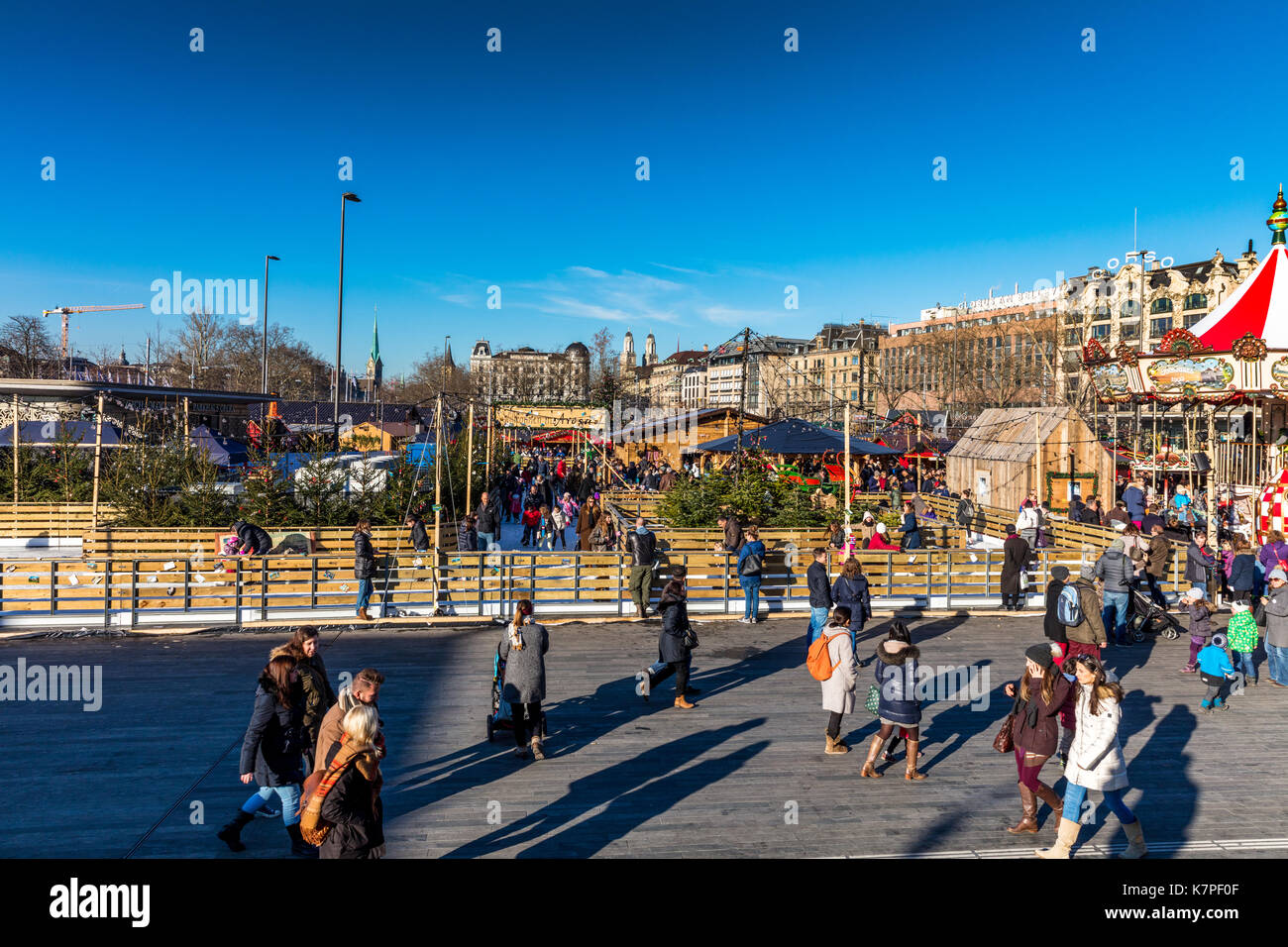 Zurich, Switzerland - 10 december 2016: Zurich Christmas Market in Bellevue - Stock Image