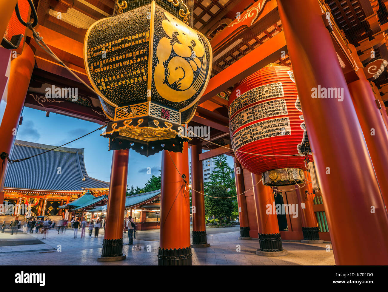 Ancient Edo era traditional paper lantern at entrance of Sensoji, also known as Asakusa Kannon Temple, Asakusa, Tokyo, Japan | Traditionelle Edo-Zeit  - Stock Image