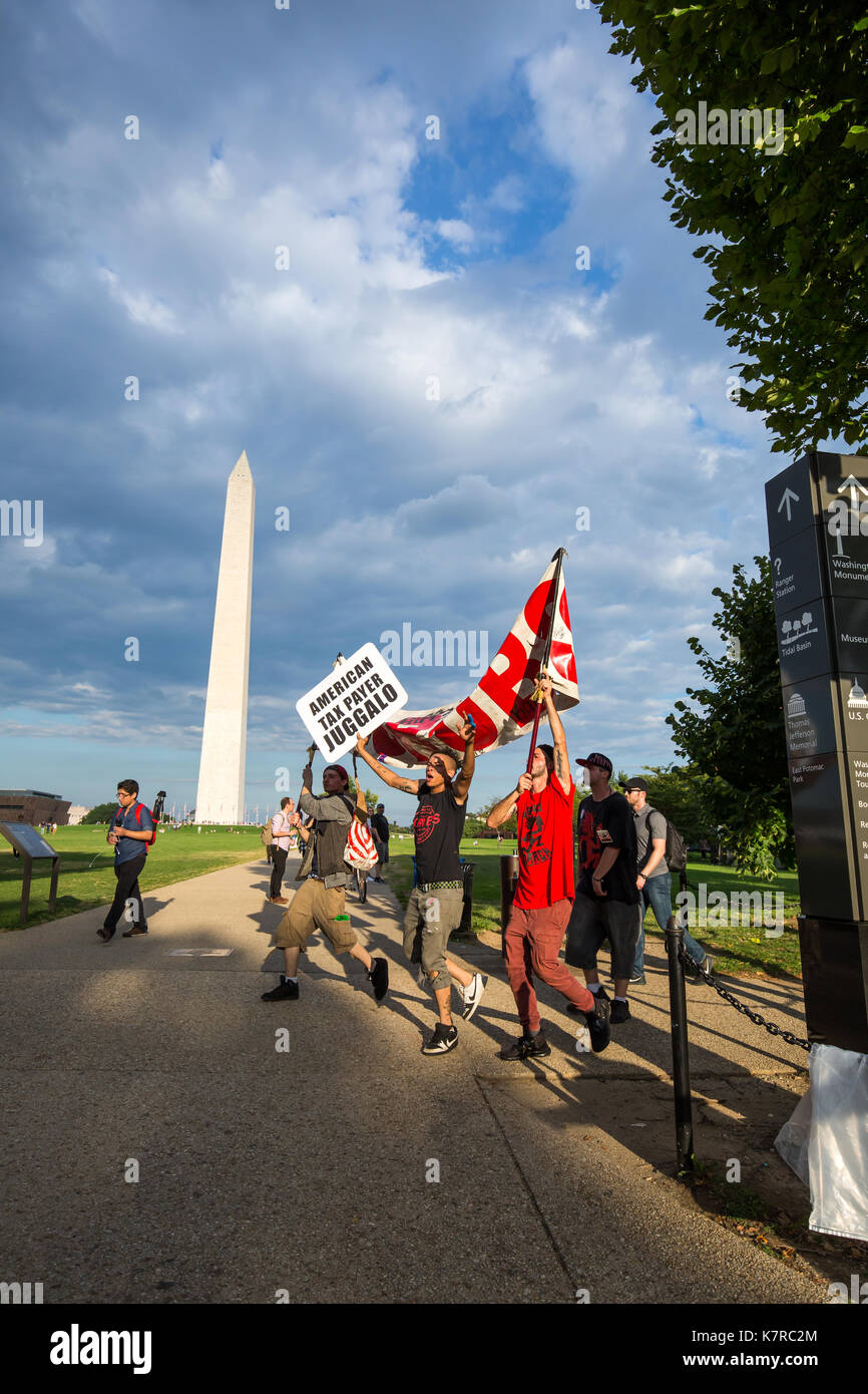 WASHINGTON, DC - September 16, 2017: Fans of the music group 'Insane Clown Posse,' called Juggalos, march in front Stock Photo