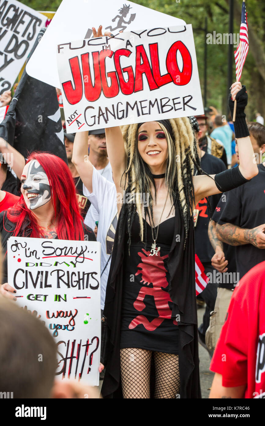 WASHINGTON, DC - September 16, 2017: Fans of the music group 'Insane Clown Posse,' called Juggalos, gathered in Stock Photo