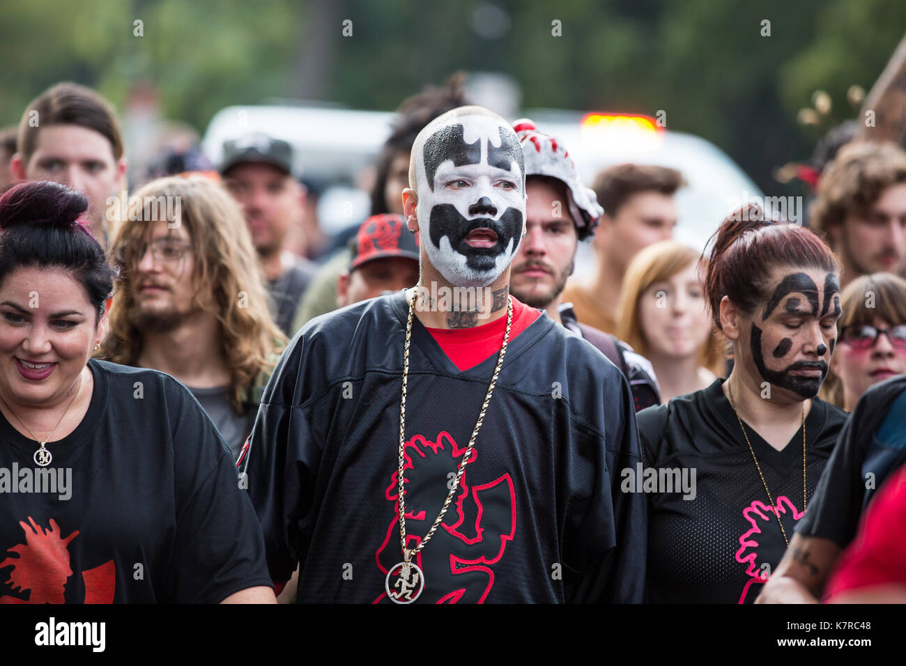 WASHINGTON, DC - September 16, 2017: Shaggy 2 Dope (Joseph Utsler) leads a group of protesters during the Juggalo Stock Photo