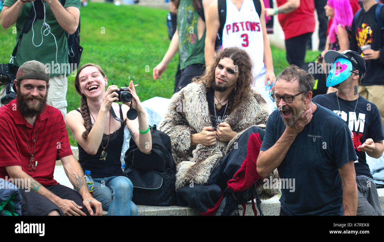 Washington, DC - September 16, 2017: Juggalos gather at the Lincoln Memorial and march on Washington to show their Stock Photo