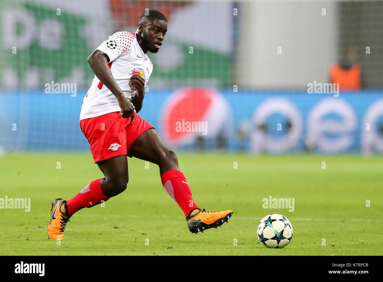 Leipzig S Dayot Upamecano In Action During Uefa Champions League Stock Photo Alamy
