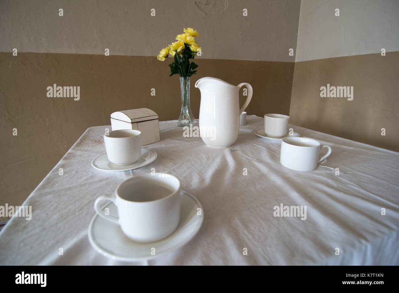 A table setting recreating a scene from the movie 'Shawshank Redemption' that was filmed at the Ohio State Reformatory, Mansfield, Ohio, USA. - Stock Image