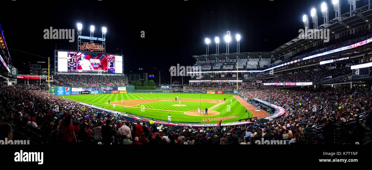 Progressive Field is a baseball park located in the downtown area of Cleveland, Ohio, United States. It is the home field of the Cleveland Indians. - Stock Image