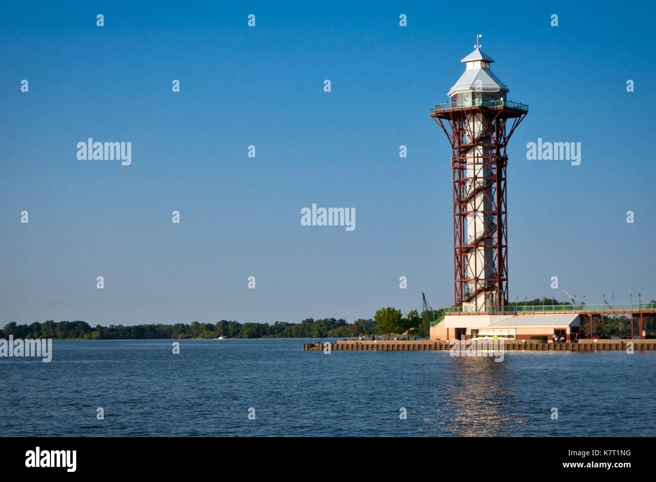 The Bicentennial Tower is an observation tower located in Erie, Pennsylvania featuring panoramic views of Lake Erie, Presque Isle, and downtown Erie. - Stock Image