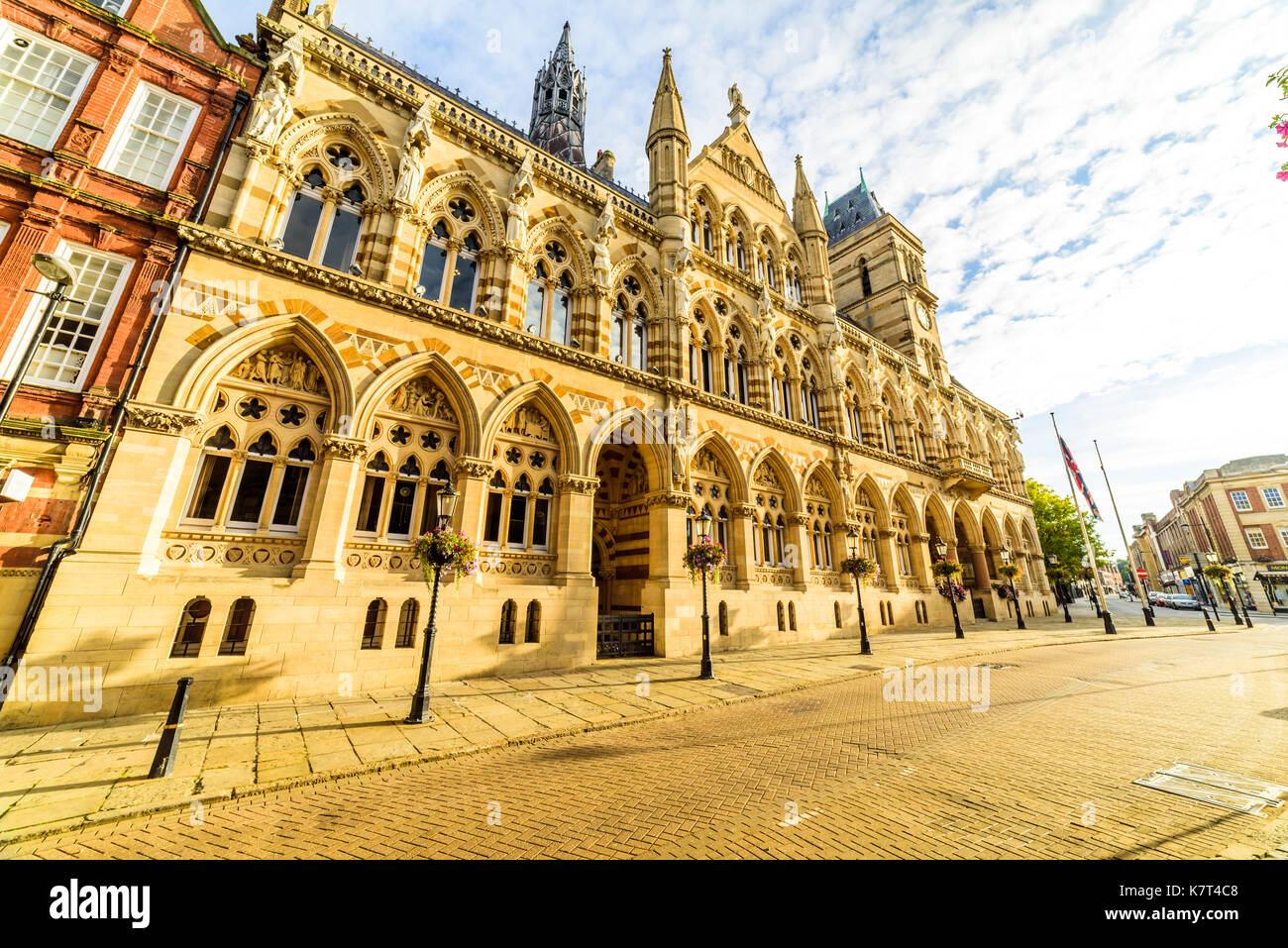 Gothic architecture of Northampton Guildhall building, England. - Stock Image