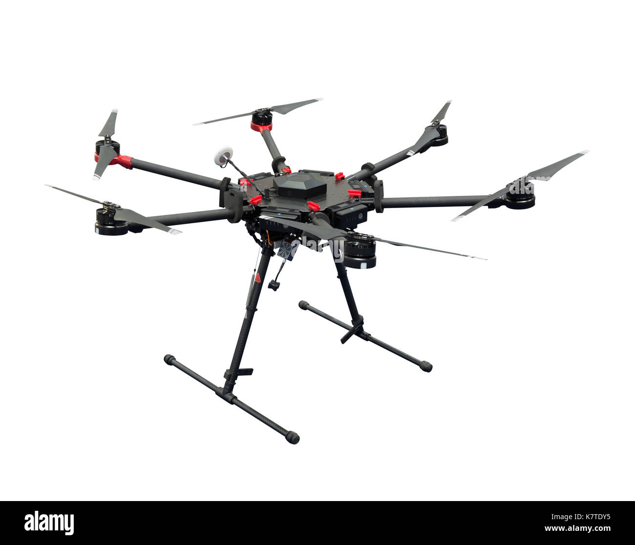 Drone hexacopter isolated on white background with clipping path - Stock Image