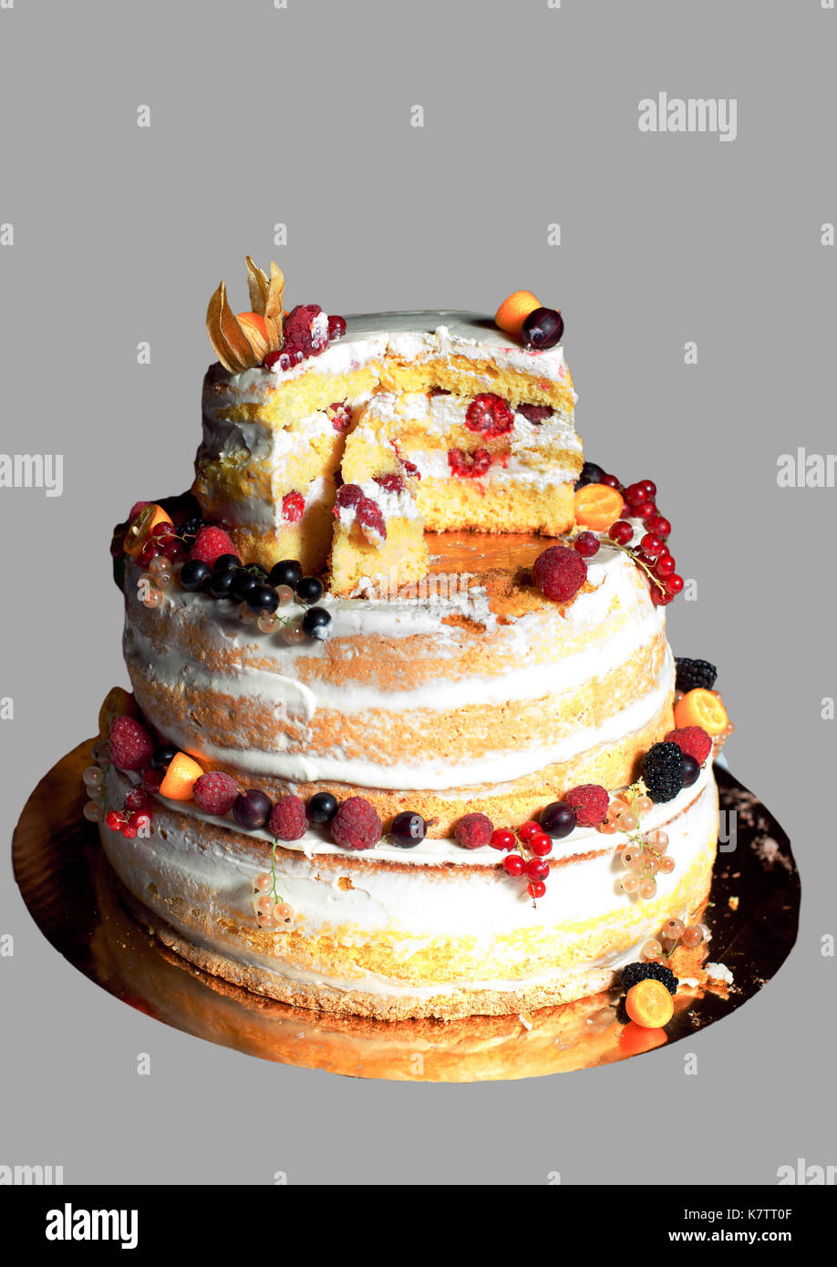 Rustic Wedding Cake With Fruits Decorated With Fresh Fruits Stock