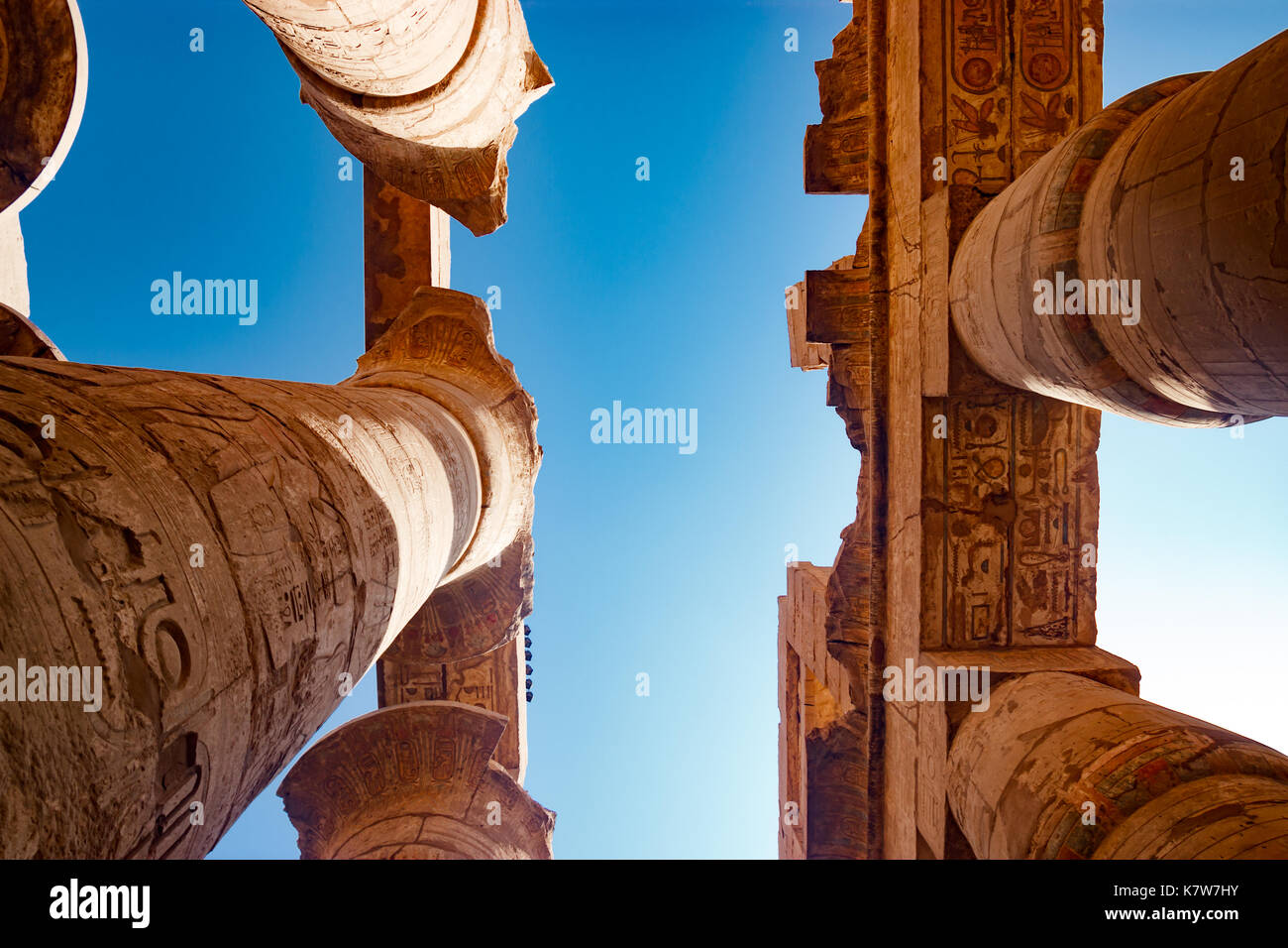 Egyptian hieroglyphic columns in Luxor, Egypt - Stock Image