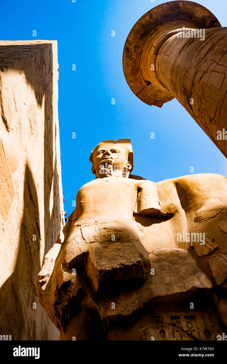 Statue in the temple of Karnak in Luxor, Egypt - Stock Image