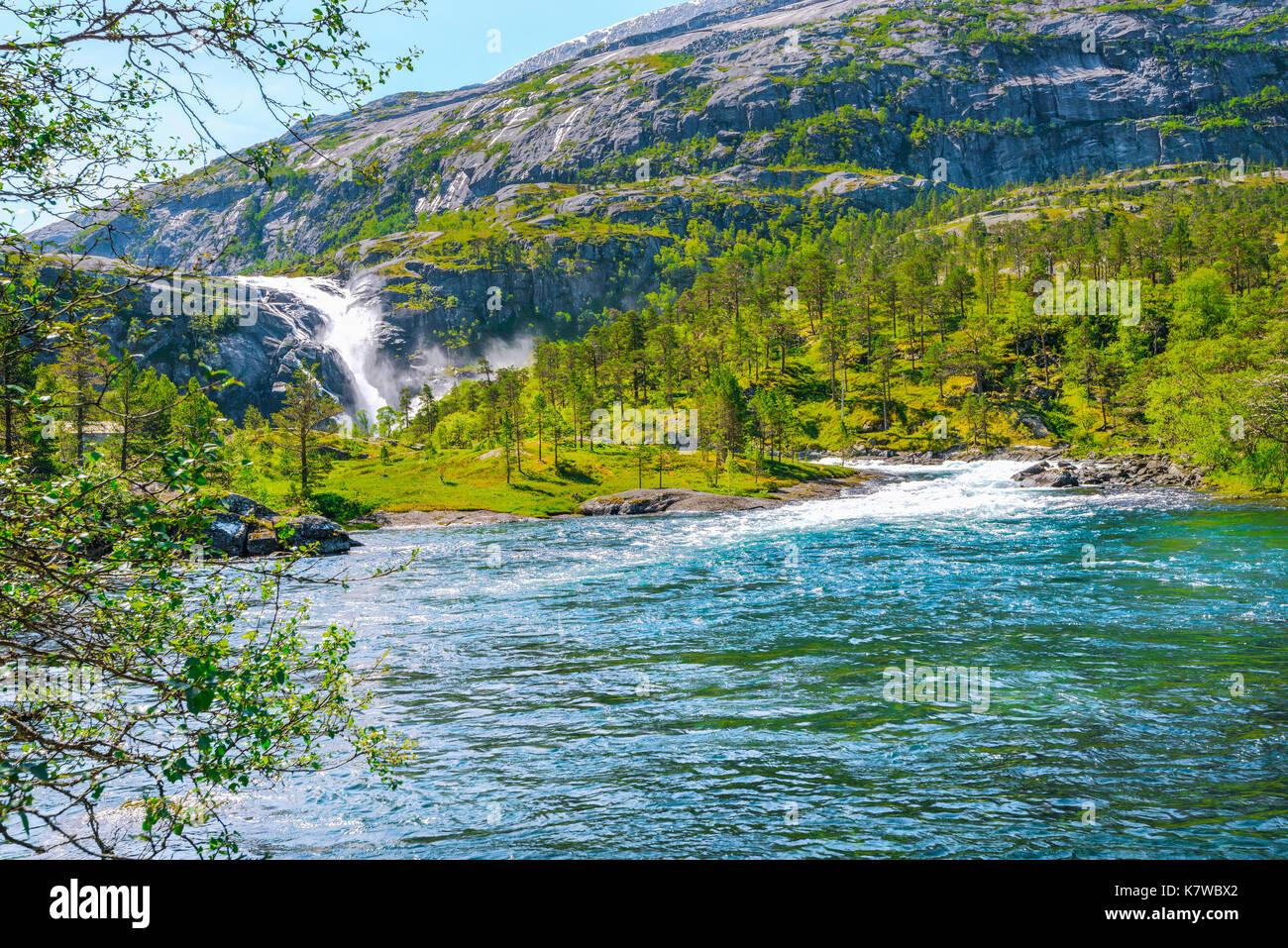 Nykkjesoyfossen falls in the Husedalen valley, near Kinsarvik at the Hardangerfjord, Norway, Scandinavia - Stock Image