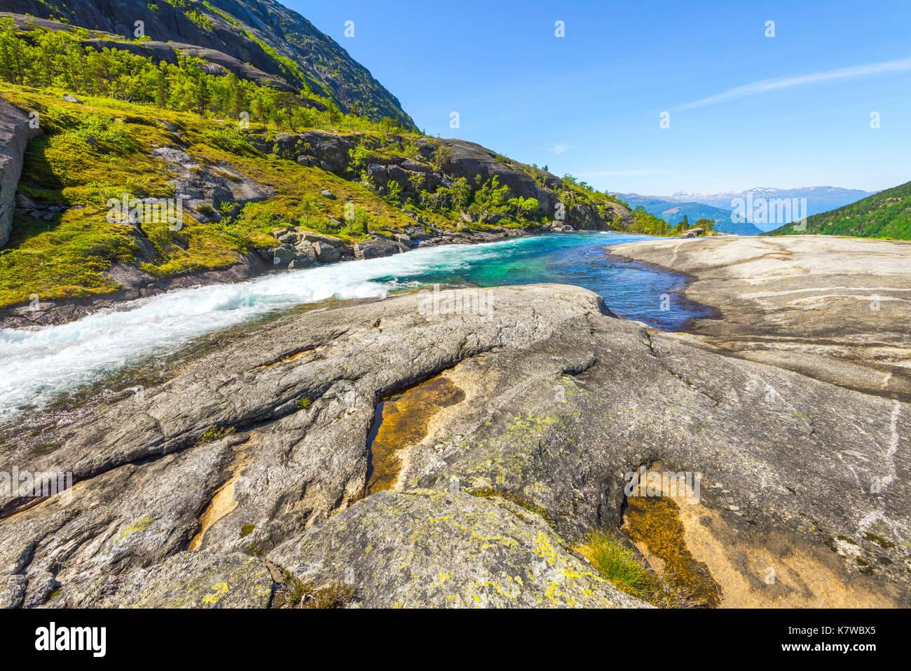 Nykkjesoyfossen falls in the Husedalen valley, near Kinsarvik, view to Hardangerfjord, Norway, Scandinavia Stock Photo