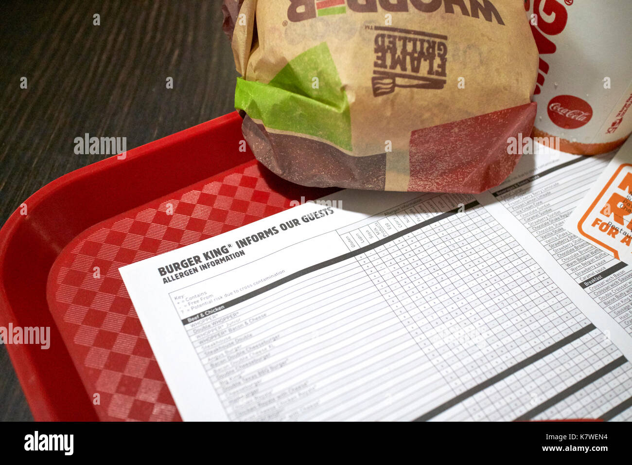 allergen information sheet on a tray with a burger king meal - Stock Image