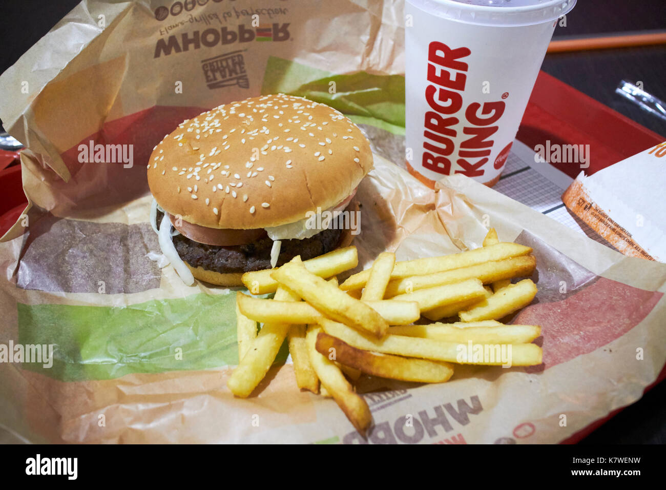 burger king whopper meal Stock Photo: 159756293 - Alamy