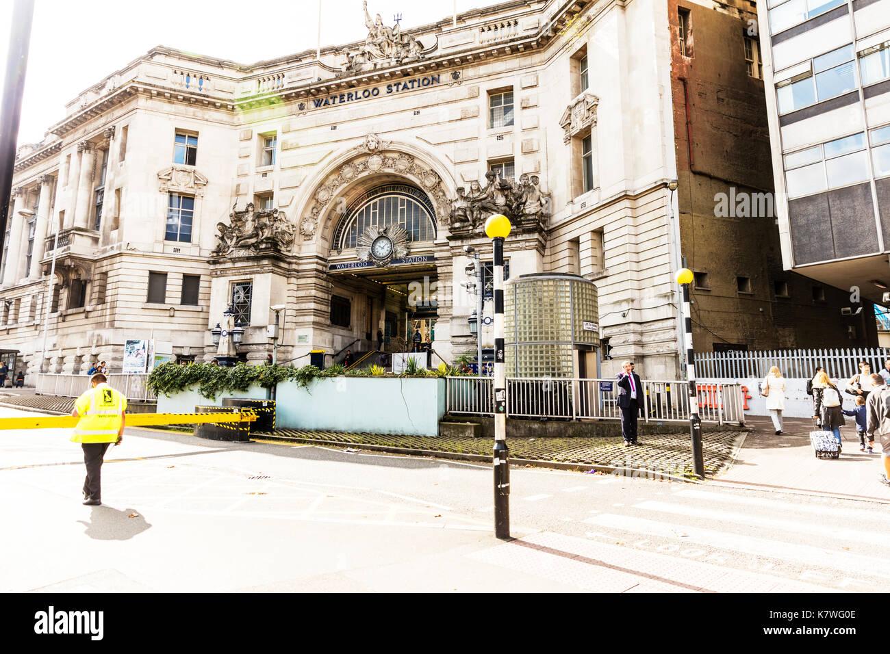 Waterloo Station London UK, Waterloo station, Waterloo Station exterior, outside Waterloo Station Waterloo train Station, Waterloo underground Station - Stock Image