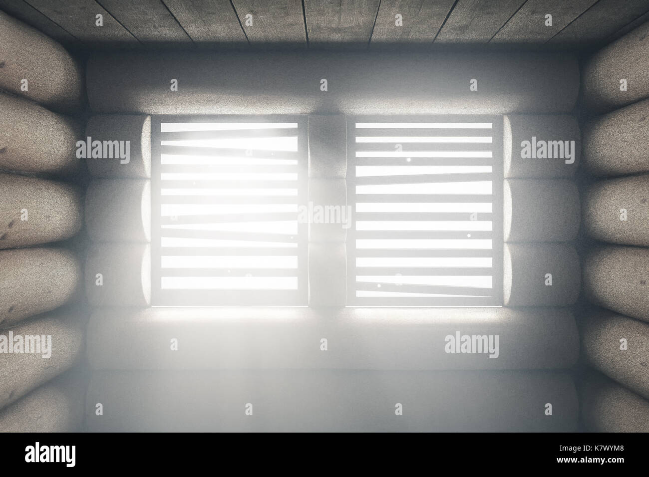 3d rendering of wooden cabin with light beams through window - Stock Image
