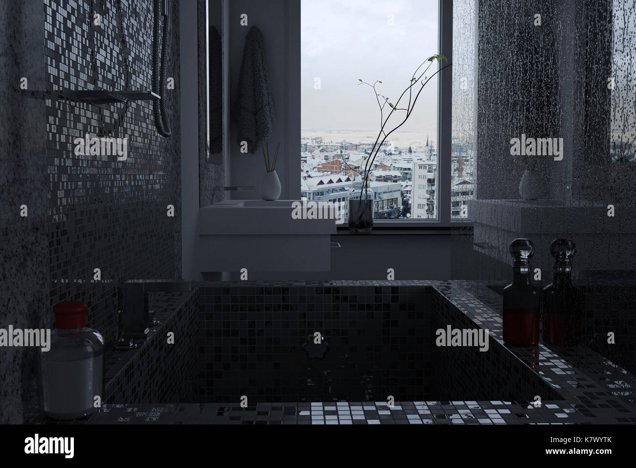 3d rendering of luxury bathroom with mosaic tiles. View from bathtub to the rooftop of city - Stock Image