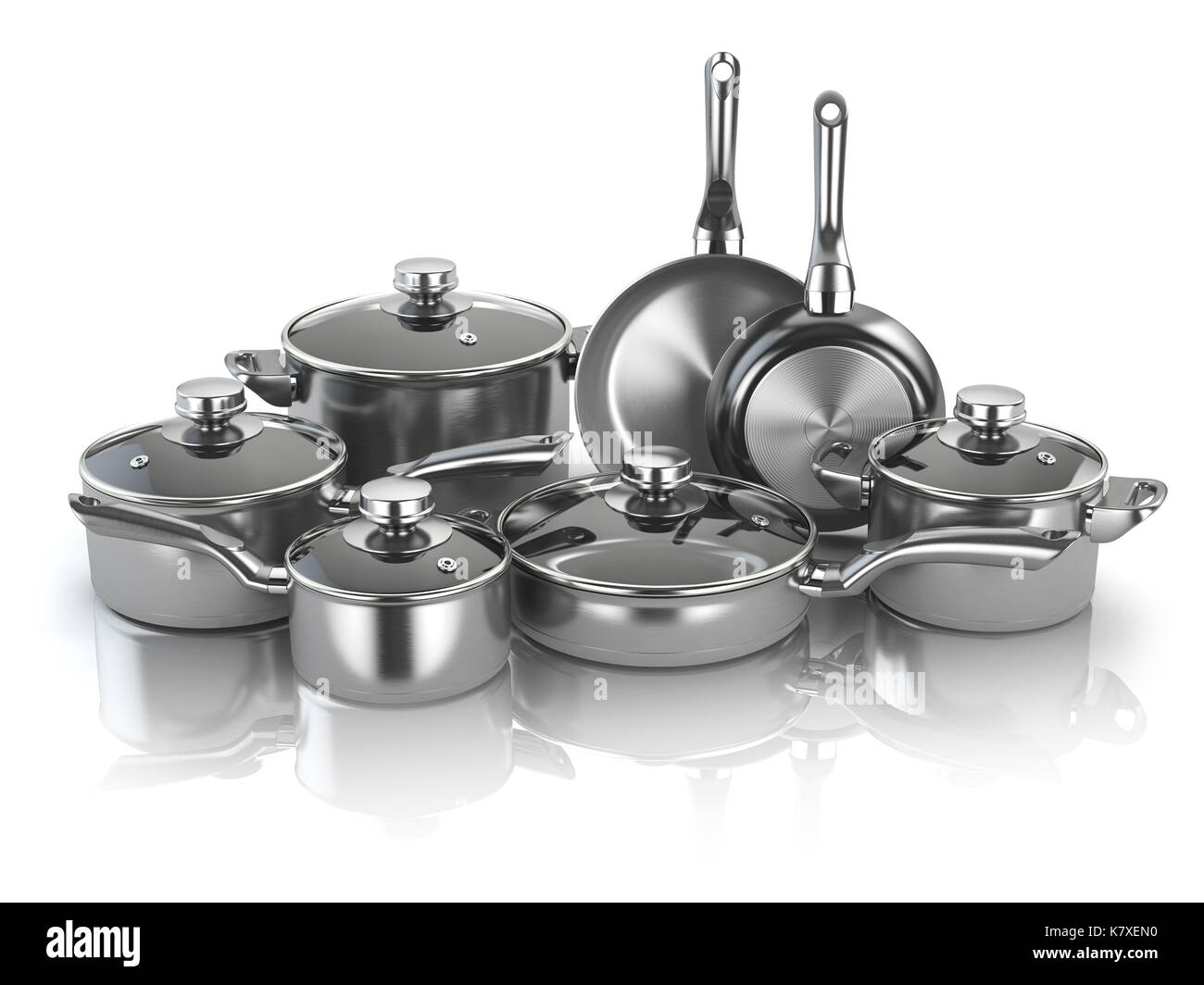 Set Of Cooking Stainless Steel Kitchen Utensils And Cookware. 3d  Illustration