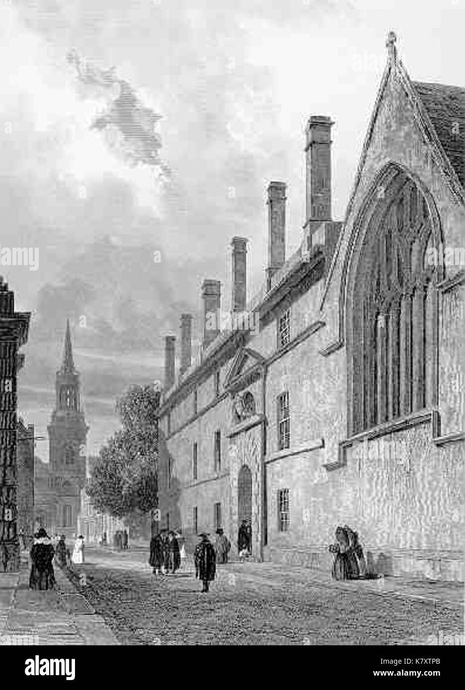 Jesus College engraving 1839 - Stock Image