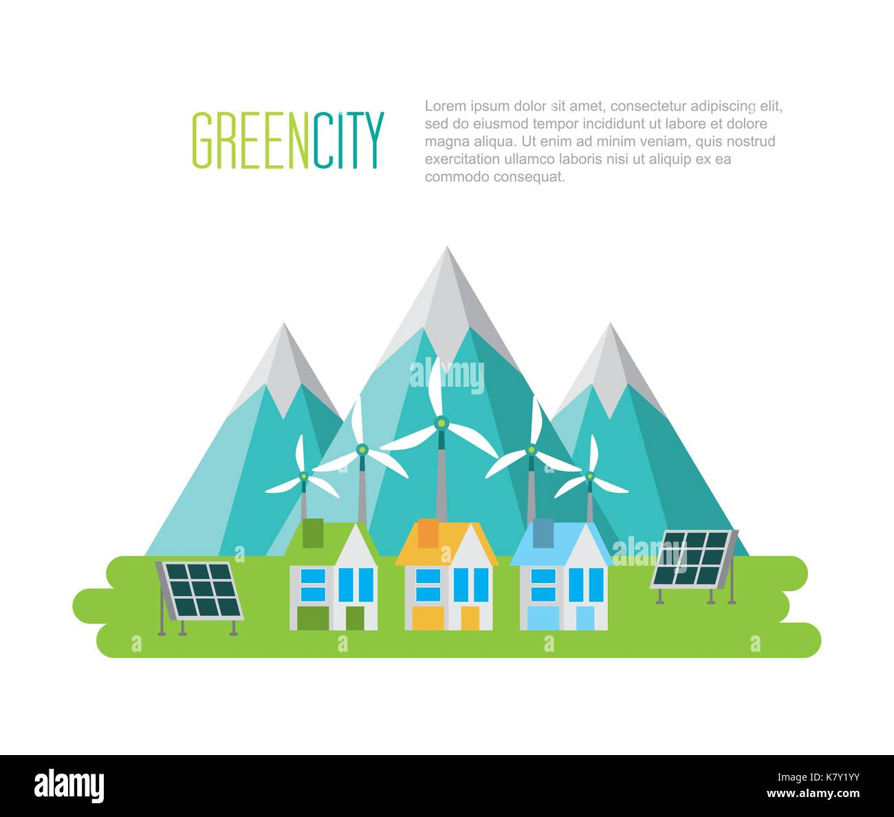 green city sustainable development with environmental conservation - Stock Image