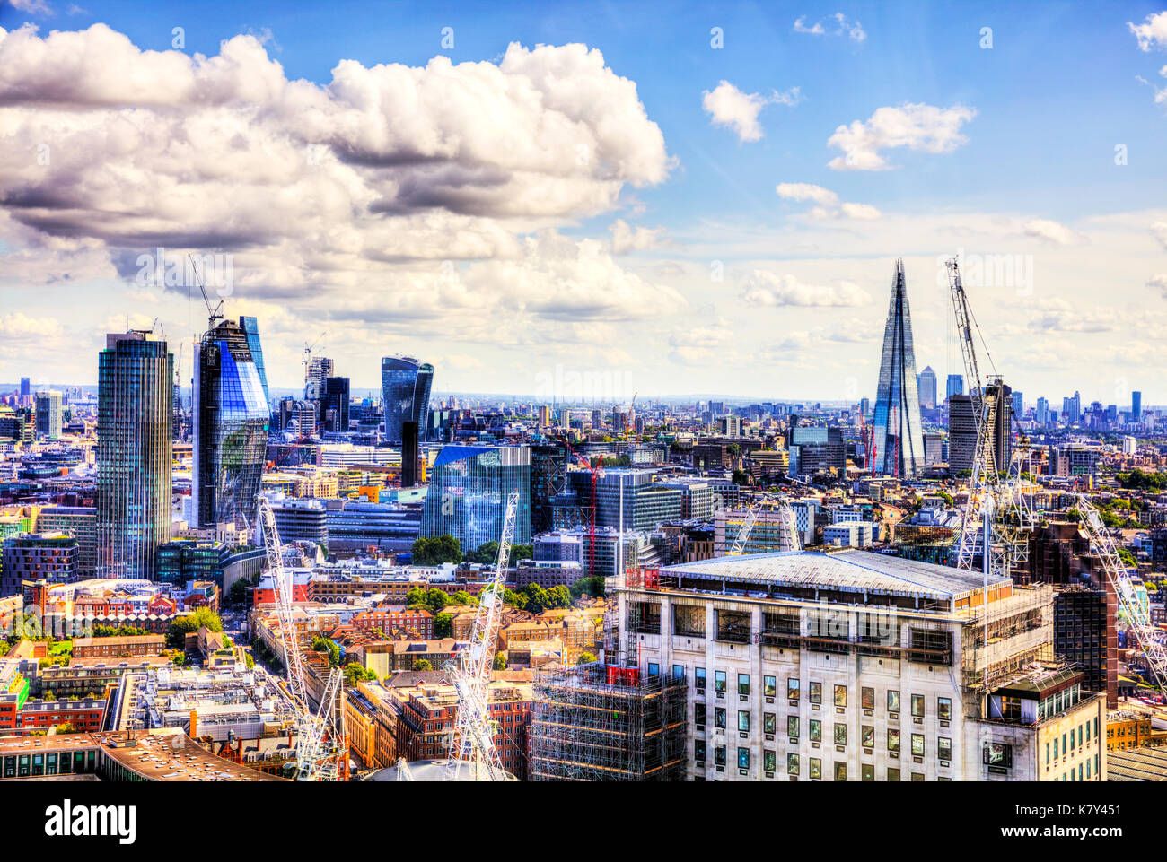 City of London square mile, Shard, Walkie-Talkie, NatWest Tower buildings, London construction, London buildings, London aerial view, London skyline - Stock Image