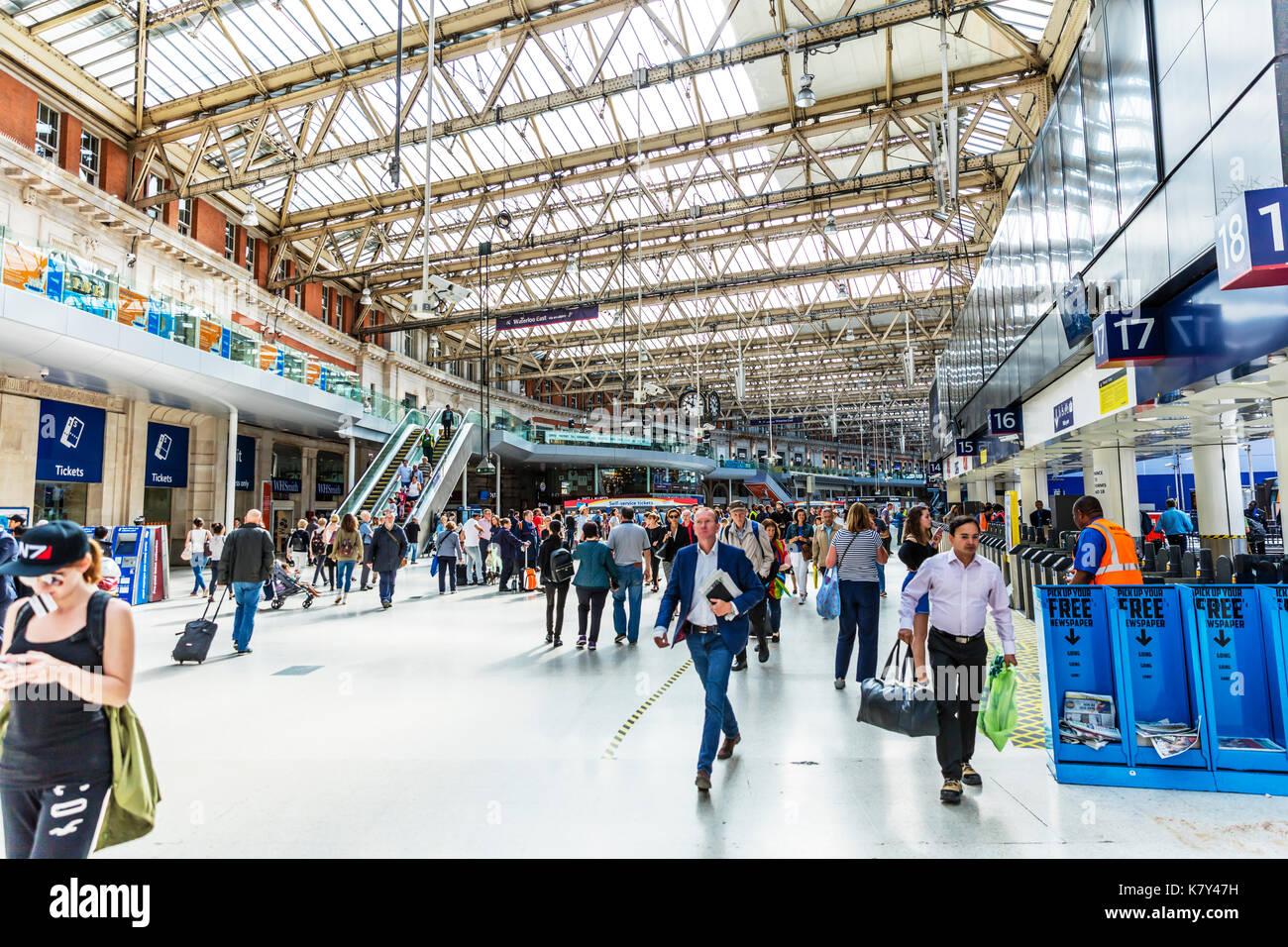 Waterloo Station London UK, Waterloo station, Waterloo Station interior, inside Waterloo Station, Waterloo train Station, Waterloo underground Station - Stock Image