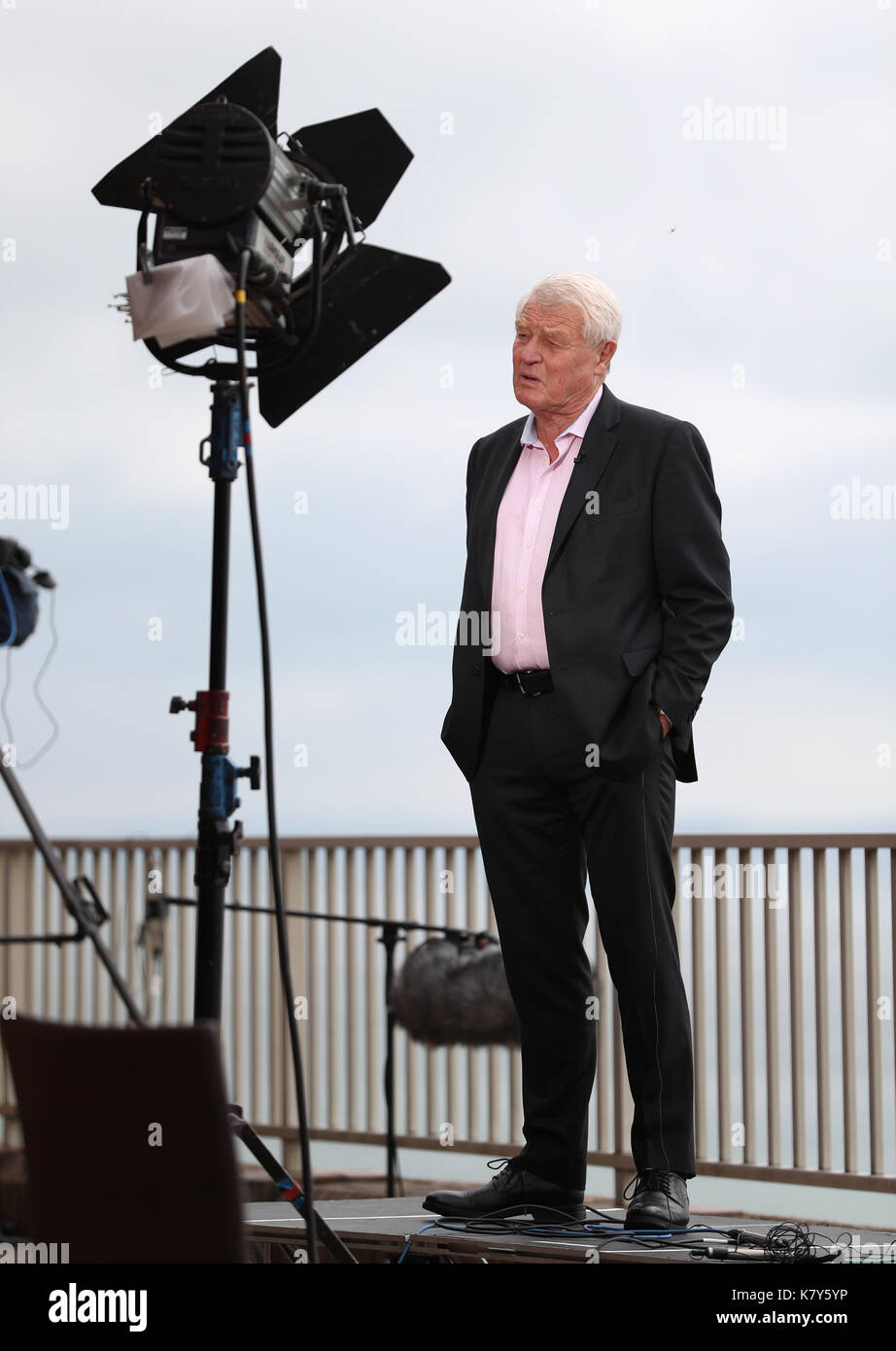 Former Liberal Democrats leader Paddy Ashdown is interviewed by the BBC's Sunday Politics on the second day of the Stock Photo