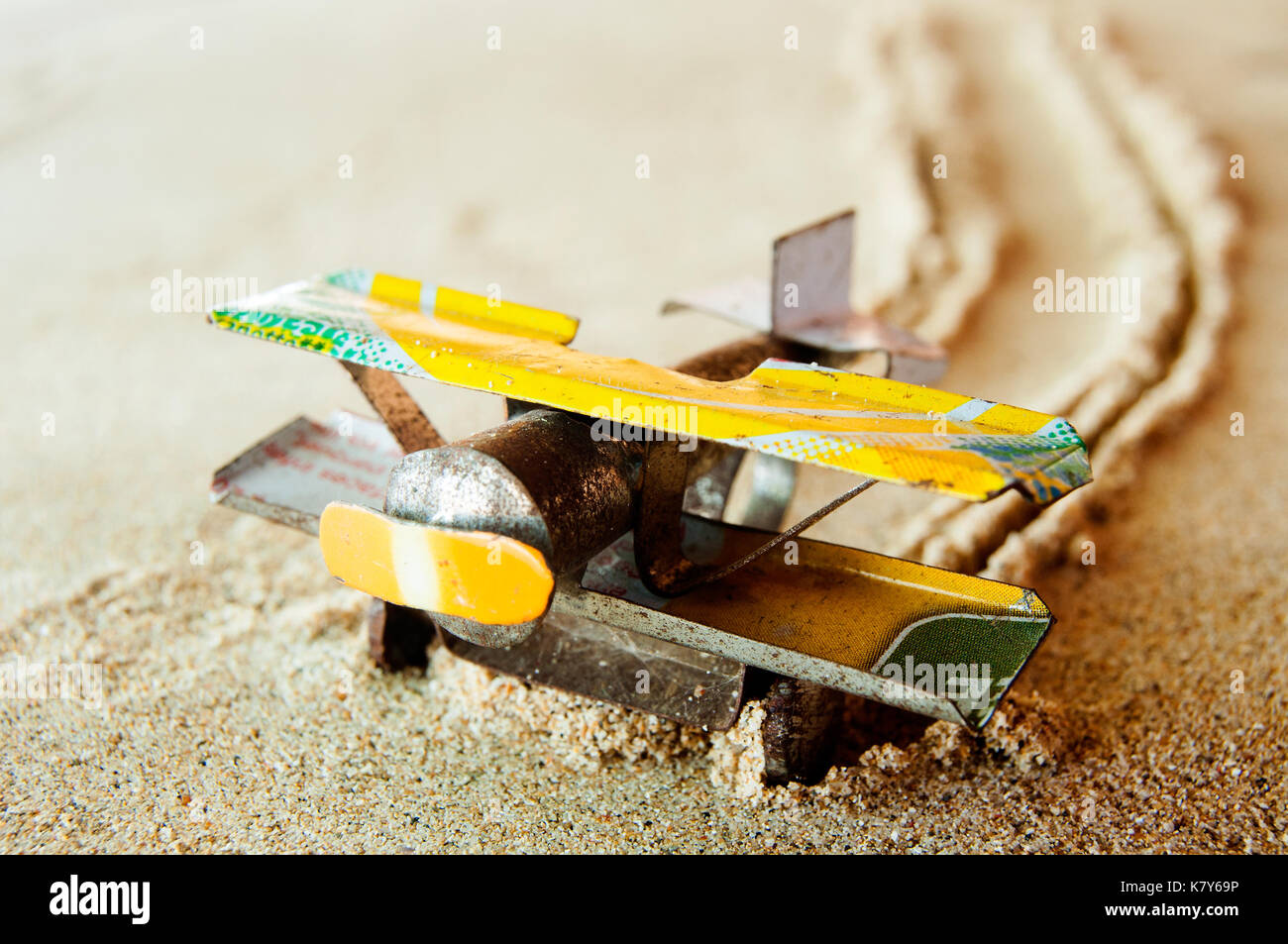 Model bi-plane made from drink cans, Ambatoloaka, Nosy Be, Madagascar - Stock Image