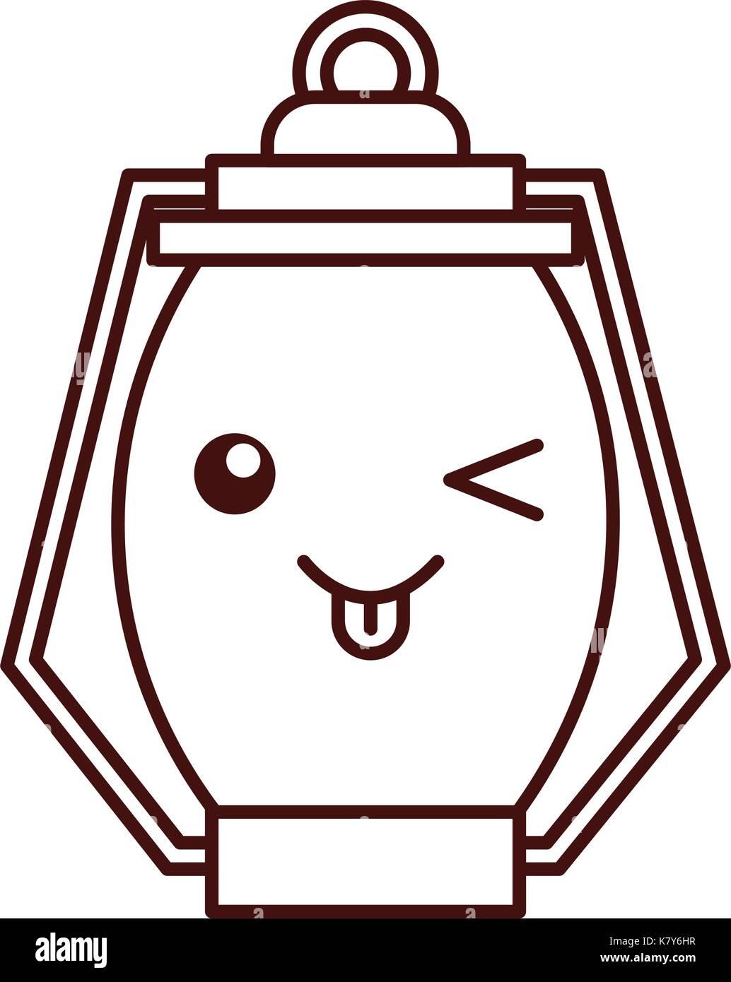 kawaii kerosene lamp camping cartoon - Stock Image