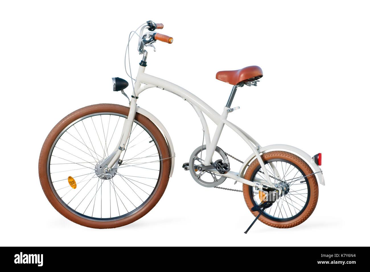 White retro stylized custom cruiser bike. Isolated on white, clipping path included - Stock Image