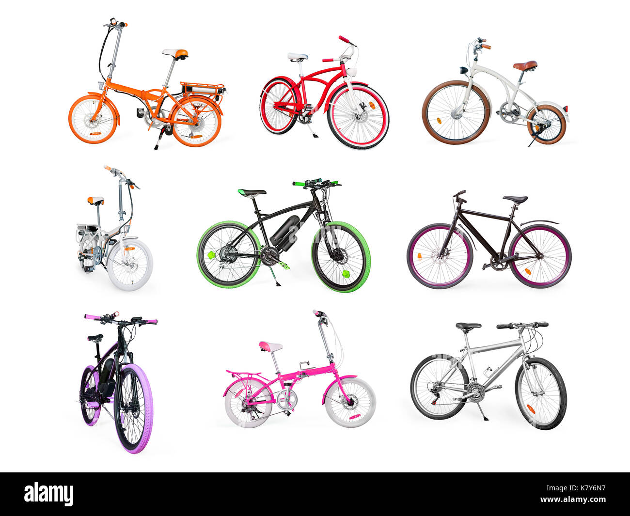 Different bikes collection. Set of electric, urban, cruiser, MTB and folding bikes isolated on white - Stock Image