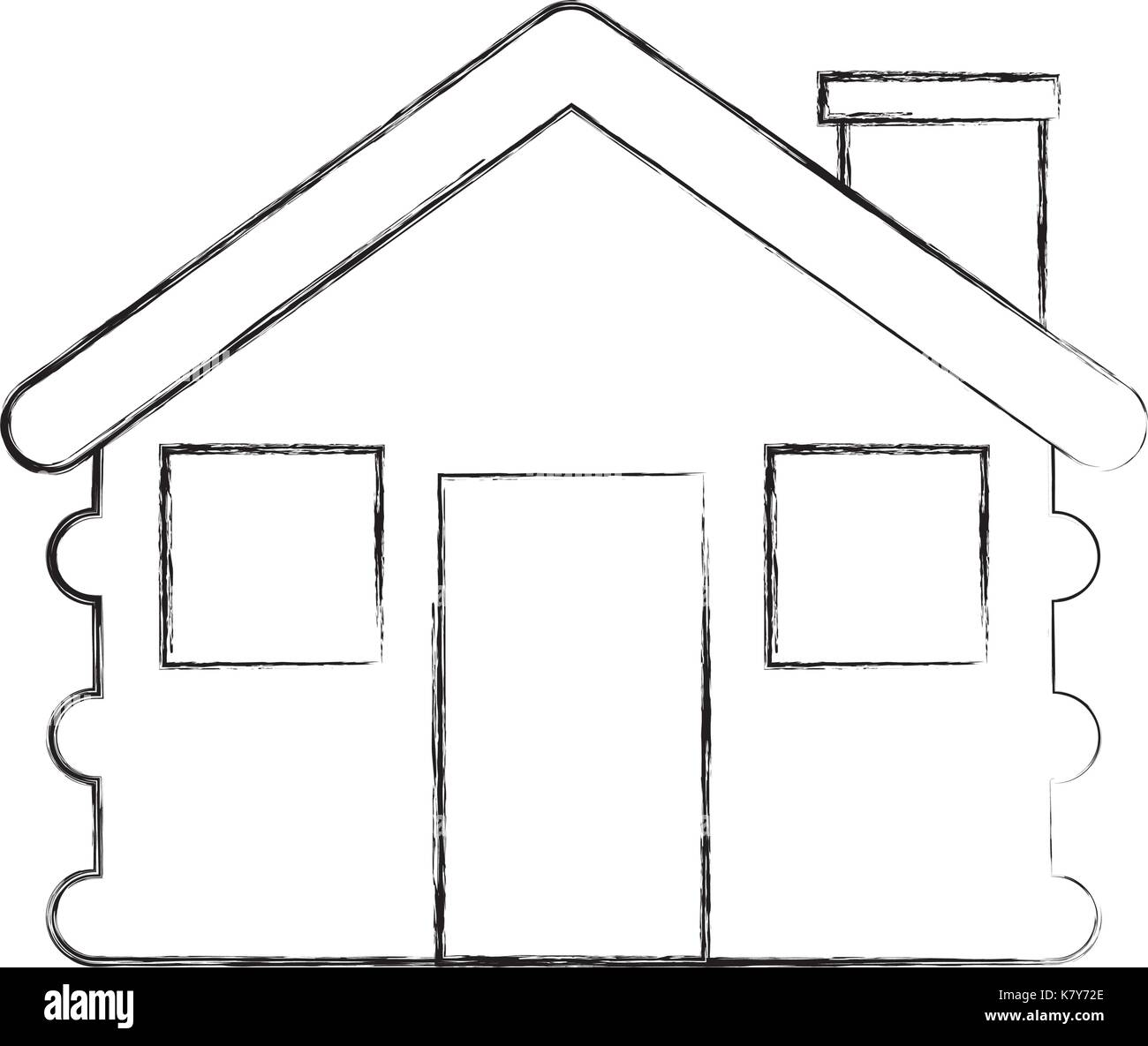 wooden cabin house chimney camp exterior - Stock Vector