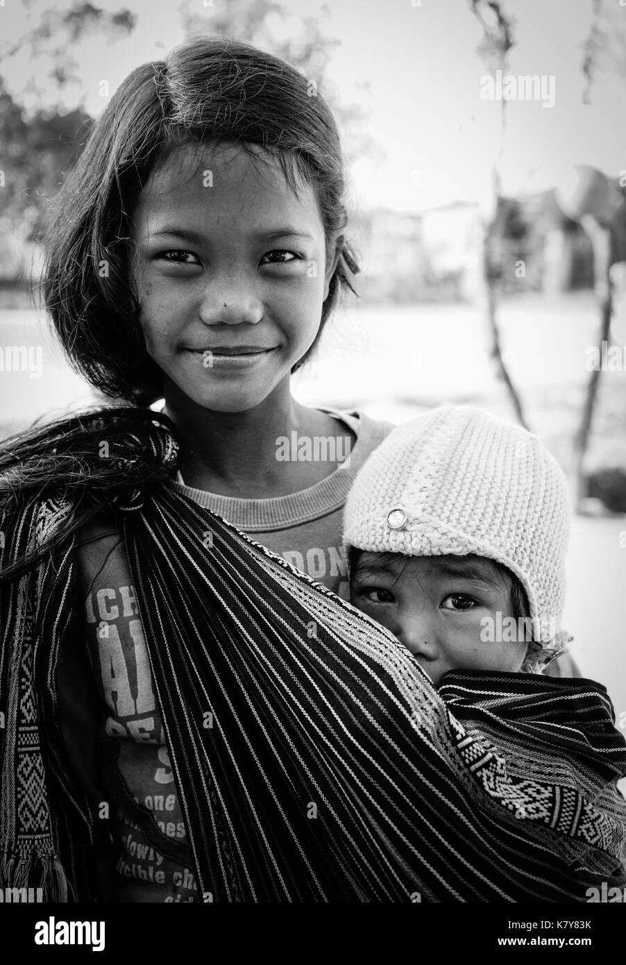 Dalat, Vietnam  - Dec 5, 2015. Portrait of Koho children in Dalat, Vietnam. Koho are an ethnic group living in the Dalat township of Central Highlands - Stock Image
