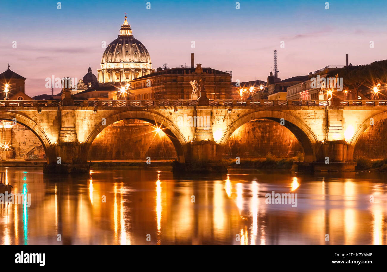 The Saint Peter's basilica in the evening, Rome, Italy. - Stock Image