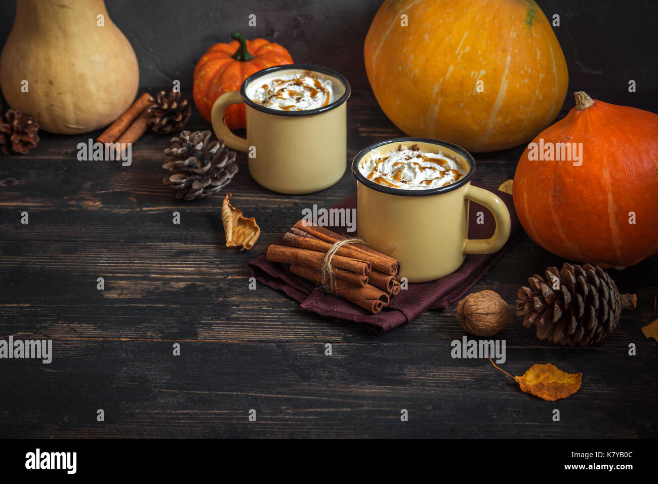 Hot Chocolate with Pumpkin Pie Spices over dark wooden background with copy space. Autumn still life. Thaksgiving and Autumn concept. - Stock Image