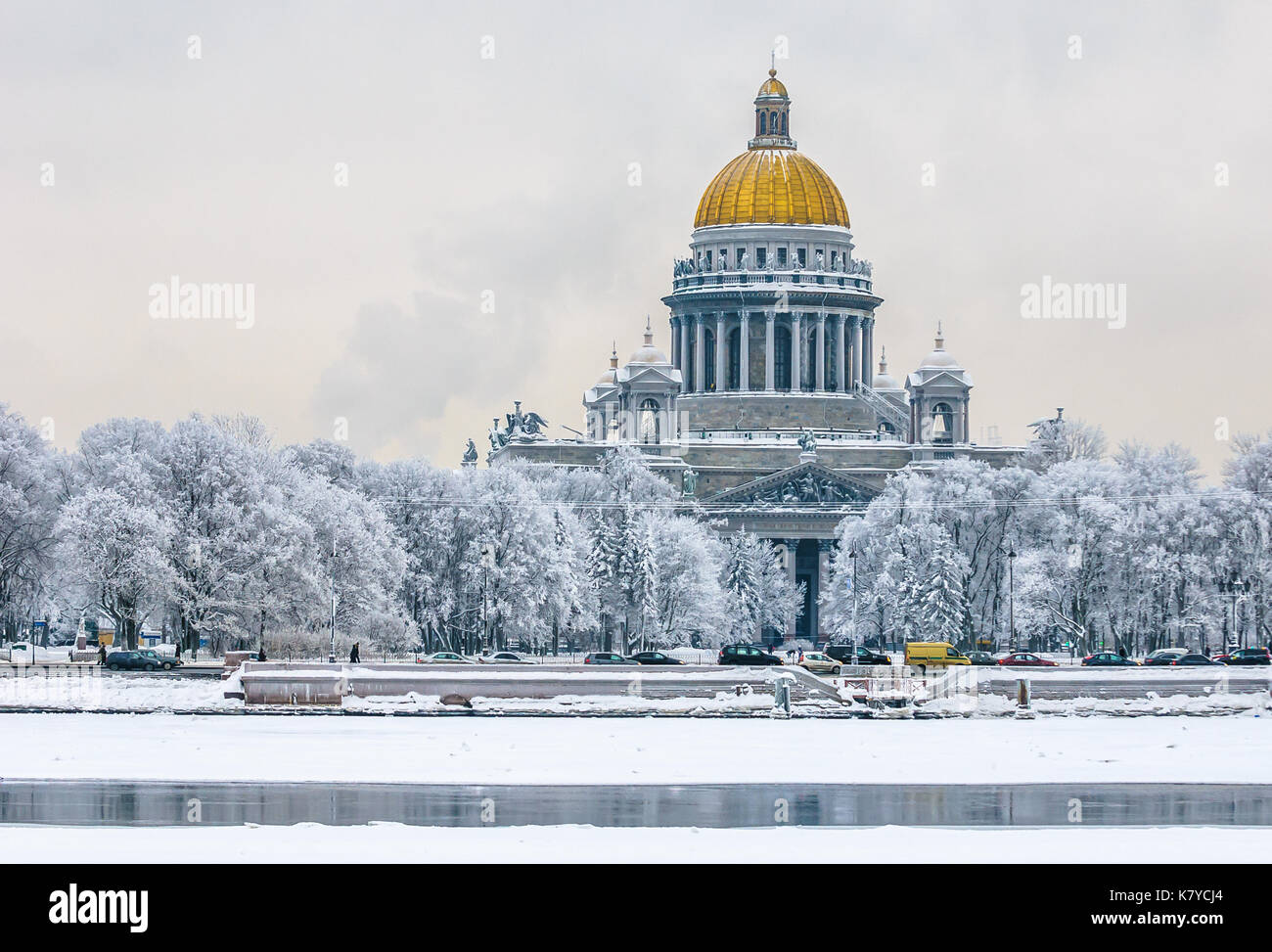 Saint Isaac's Cathedral in winter, Saint Petersburg, Russia - Stock Image