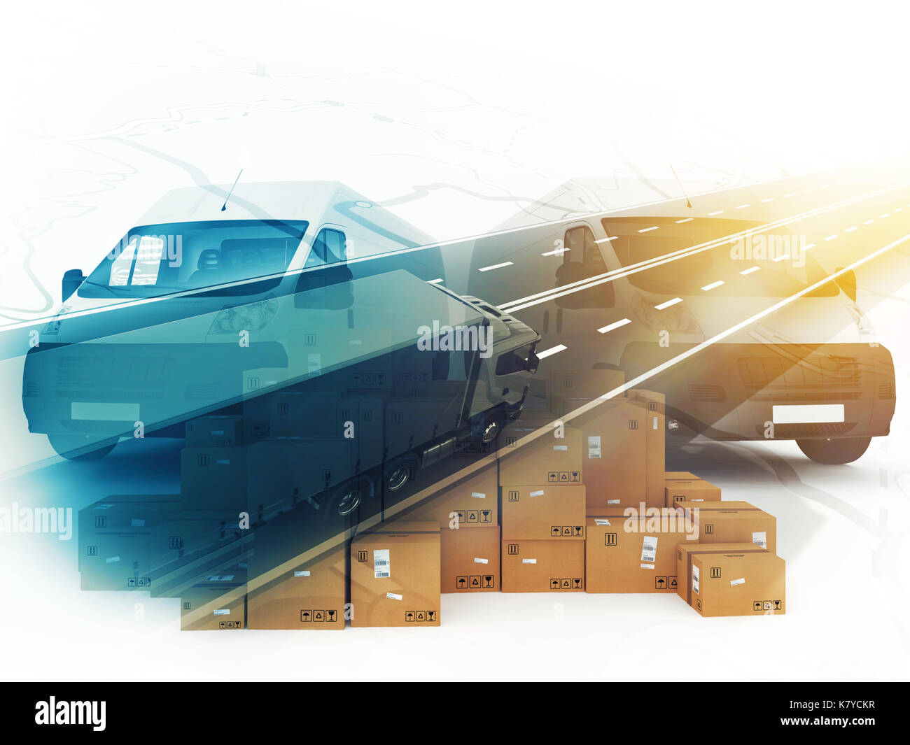 Concept of box distribution system. 3D Rendering - Stock Image