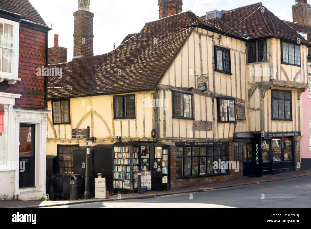 The Fifteenth Century Bookshop, on the corner of High Street and Keere Street in Lewes Sussex England - Stock Image