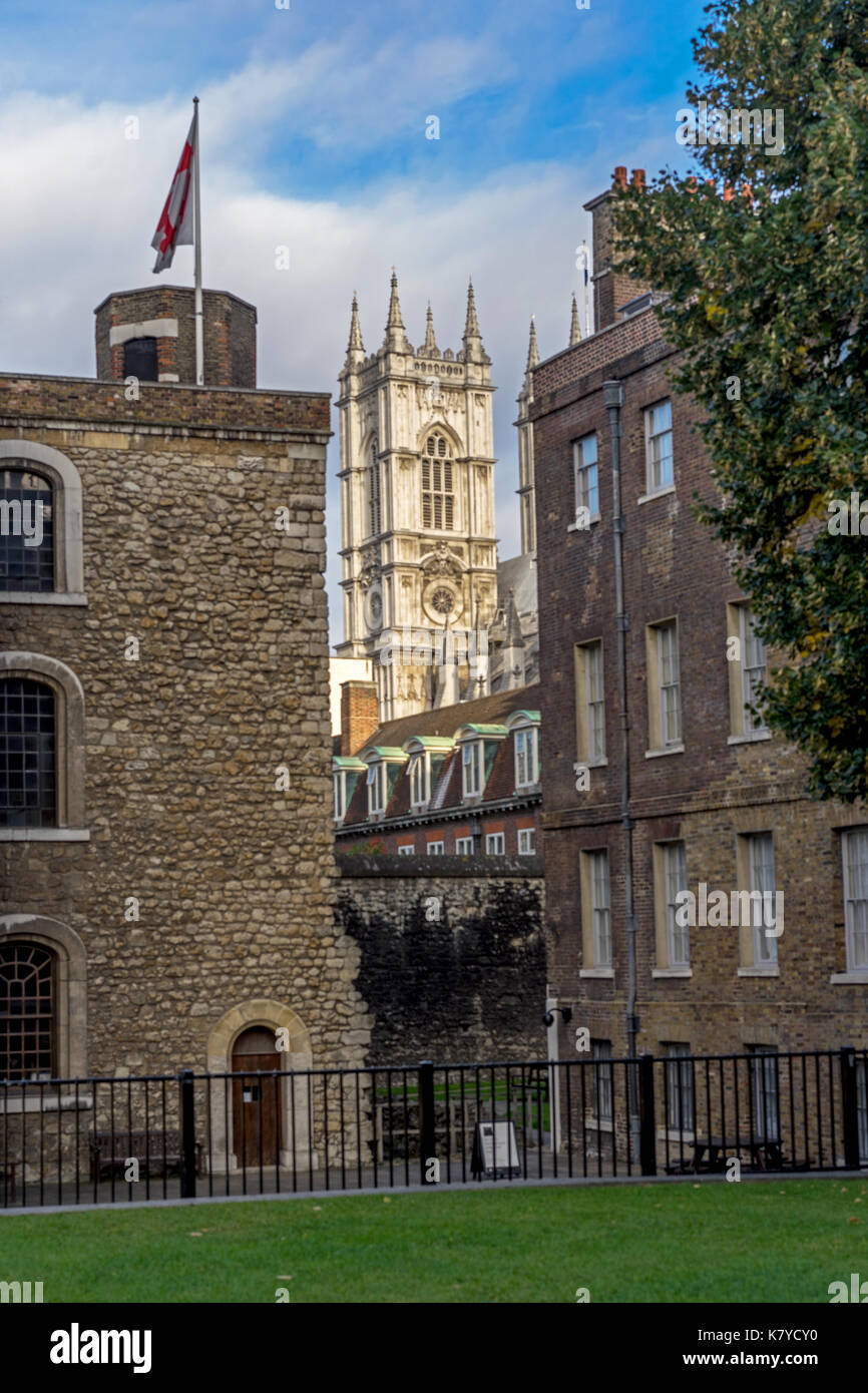 Westminster Abbey Tower Seen from Palace of Westminster - Stock Image