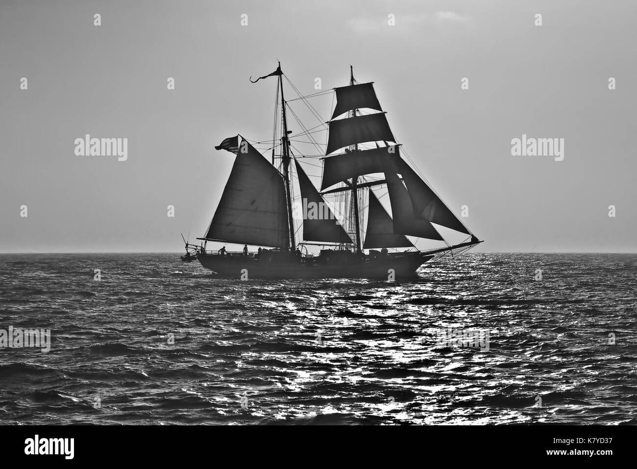 Tall Ship Exy Johnson off Dana Point, CA US. - Stock Image